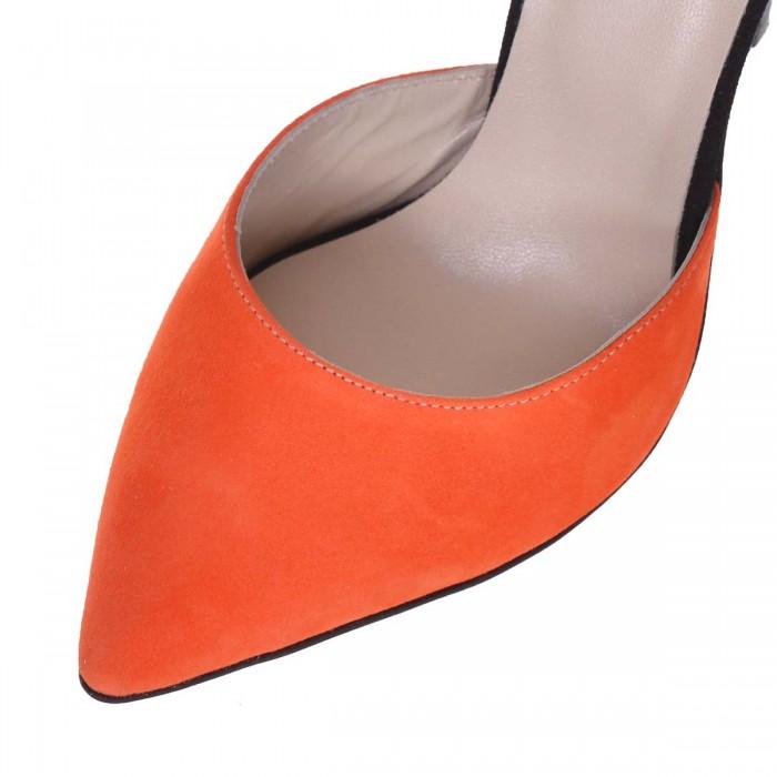 Pantofi Stiletto Piele Naturala Portocaliu - Negru - Cod S638