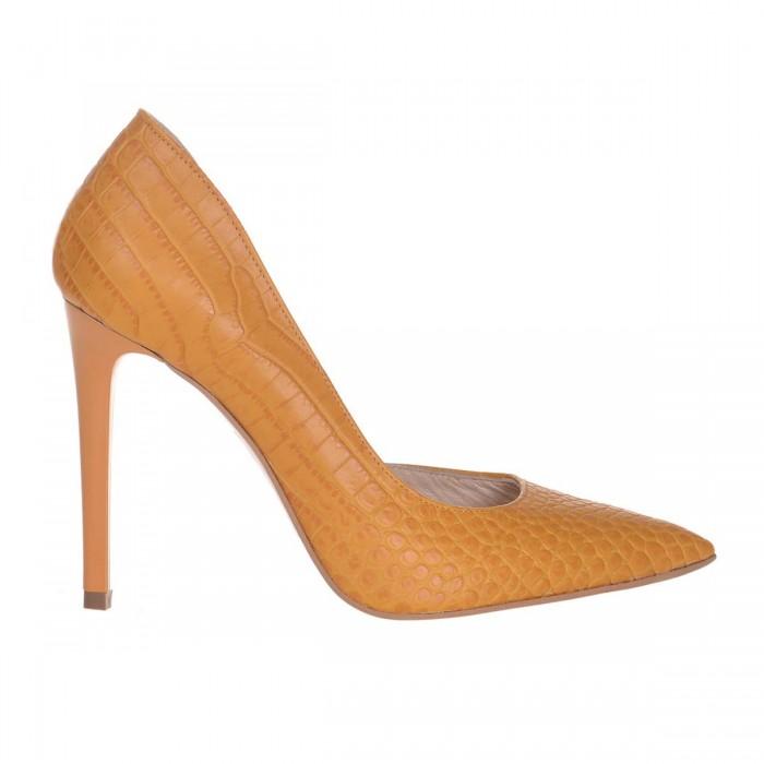 Pantofi Stiletto Decupati Piele Naturala Croco Mustar - Cod S613
