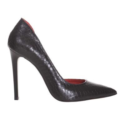 Pantofi Stiletto Decupati Piele Naturala Croco Negru - Cod S632