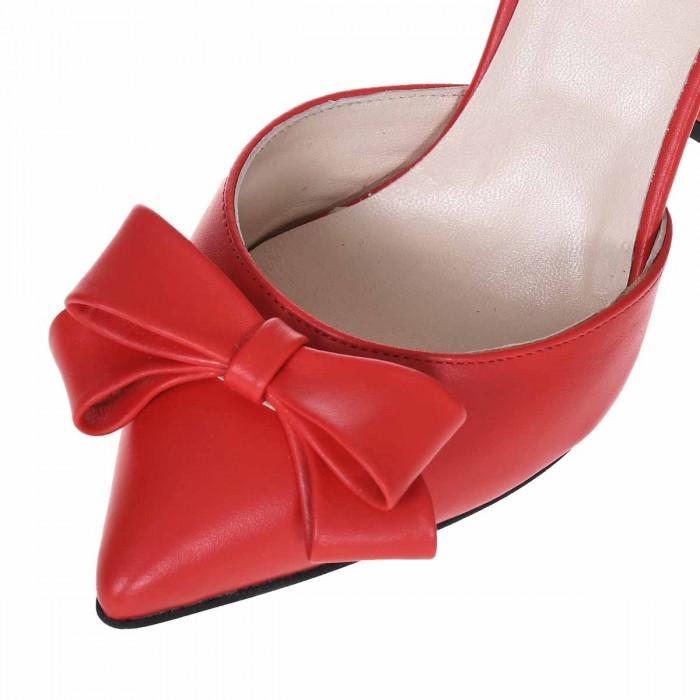 Pantofi Stiletto decupati Piele Naturala Rosie - Cod S656