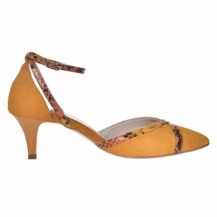 Pantofi Stiletto Decupati Piele Intoarsa Galben Mustar - Cod S653