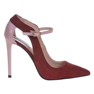 Pantofi Stiletto Piele Naturala Intoarsa Grena- Cod S446