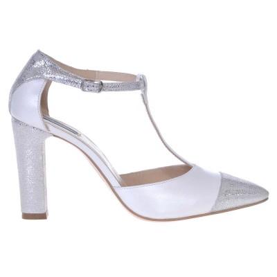 Pantofi Stiletto Piele Naturala Alba si Imprimeu - Cod S431