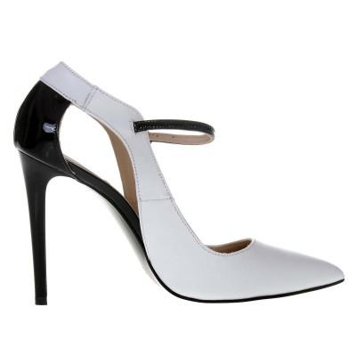 Pantofi Stiletto Piele Naturala Alb - Negru- Cod S475