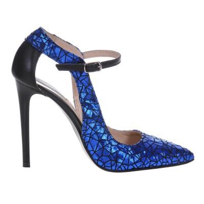 Pantofi Stiletto Piele Naturala Imprimeu Albastru- Cod S447