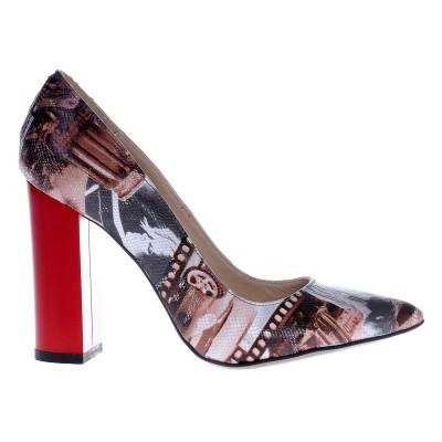 Pantofi Stiletto din Piele Naturala Imprimeu Revista- Cod S416