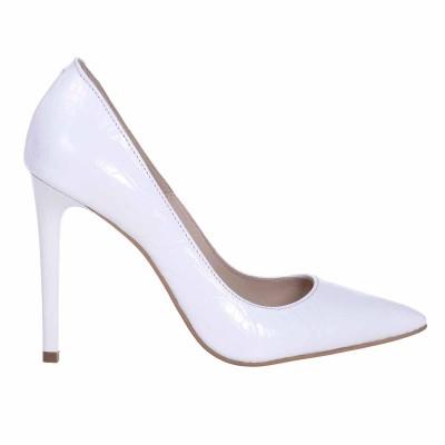 Pantofi Stiletto Presaj Croco Alb Piele Naturala - Cod S592