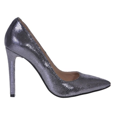 Pantofi Stiletto din Piele Naturala Gri- Cod S426