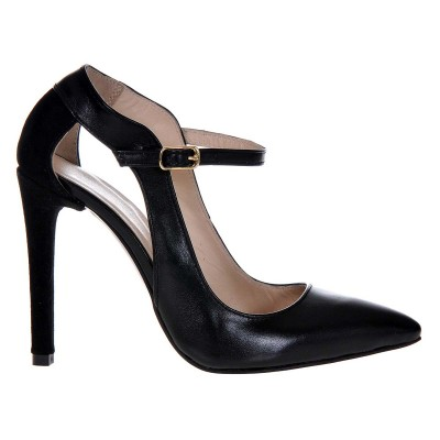 Pantofi Stiletto din Piele Naturala Neagra - Cod S409