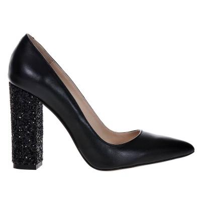 Pantofi Stiletto Cu Toc Gros Piele Naturala Neagra si Glitter- Cod S407