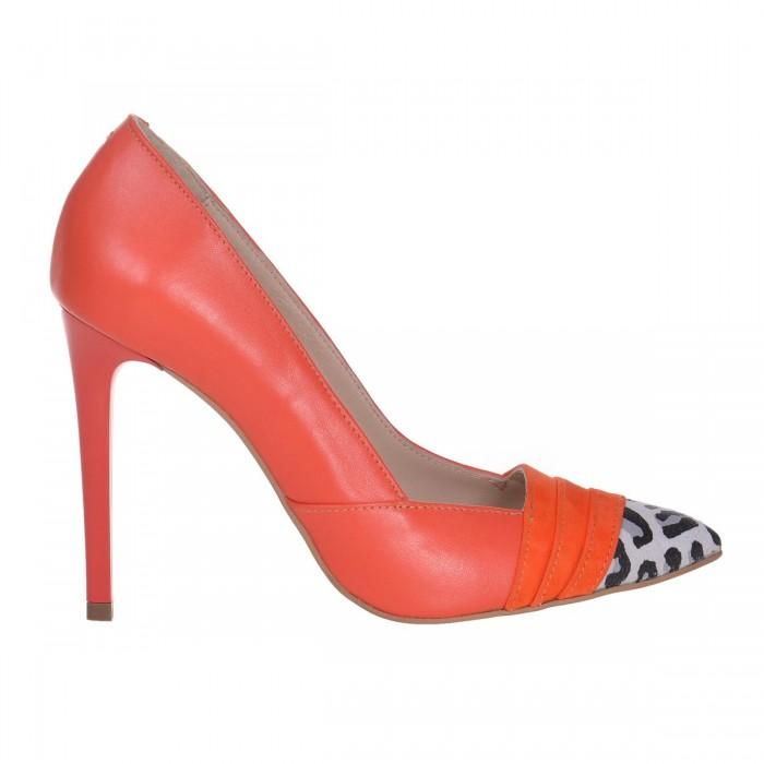Pantofi Stiletto din Piele Naturala Portocalie - Cod S612
