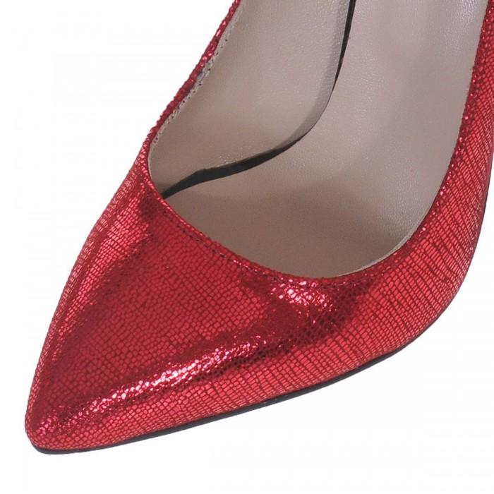 Pantofi Stiletto din Piele Naturala Rosie- Cod S430