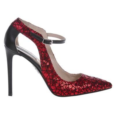 Pantofi Stiletto Piele Naturala Imprimeu Rosu- Cod S448