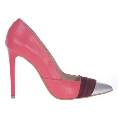 Pantofi Stiletto din Piele Naturala Corai si Mov - Cod S492