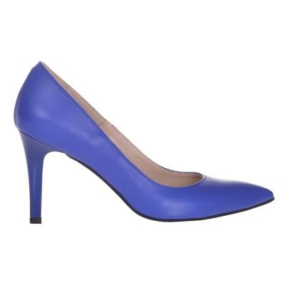 Pantofi Dama Stiletto cu Toc Comod Piele Albastra - Cod S651