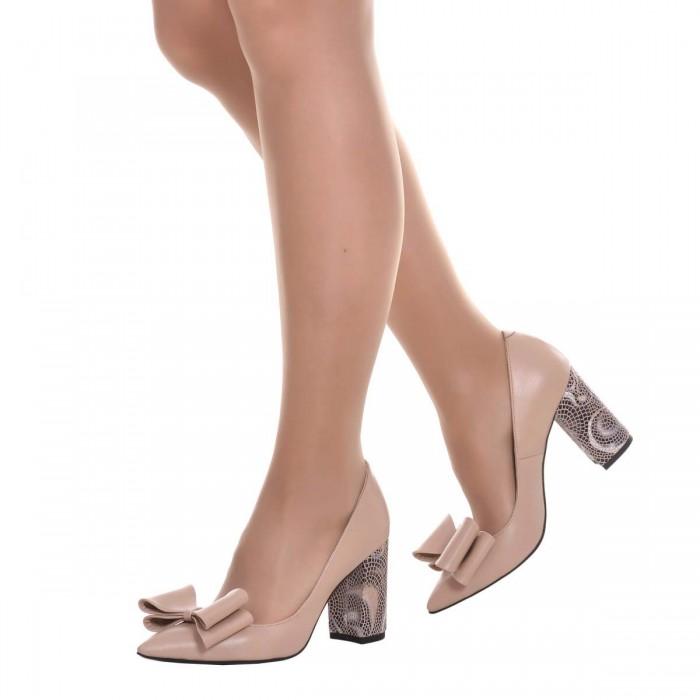 Pantofi Stiletto din Piele Naturala Crem si Imprimeu - Cod S616