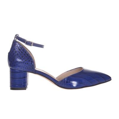 Pantofi Stiletto Decupati Piele Presaj Sarpe Albastru - Cod S652