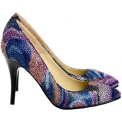 Pantofi Dama Stiletto Piele Naturala Multicolora - Cod S101