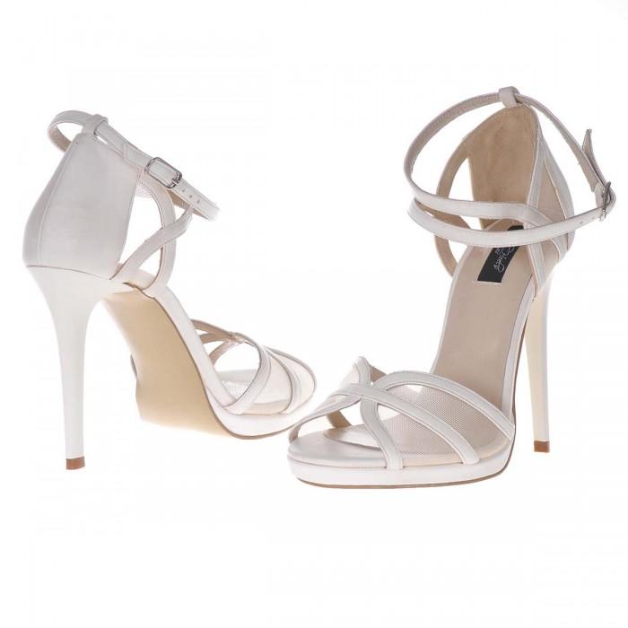 Sandale Elegante Piele Naturala Alba - Cod N98