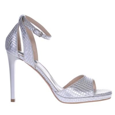 Sandale Argintii Dama Piele cu Imprimeu Sarpe - Cod N104