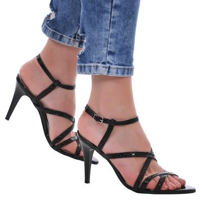 Sandale Dama din Piele Naturala cu Imprimeu de Sarpe- Cod N76